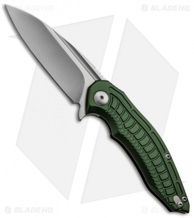 "Brous Blades Bionic Flipper Knife Green Aluminum (3"" Satin Plain)"