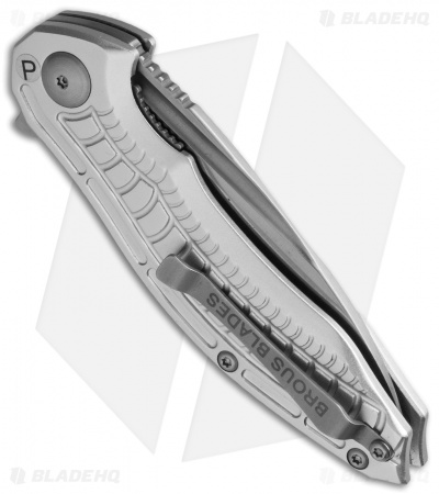 "Brous Blades Bionic 2.0 Flipper Knife Silver (3"" Satin)"