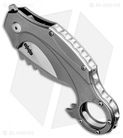 "Brous Blades Elite Enforcer Folding Karambit Knife Titanium (2.6"" Satin)"