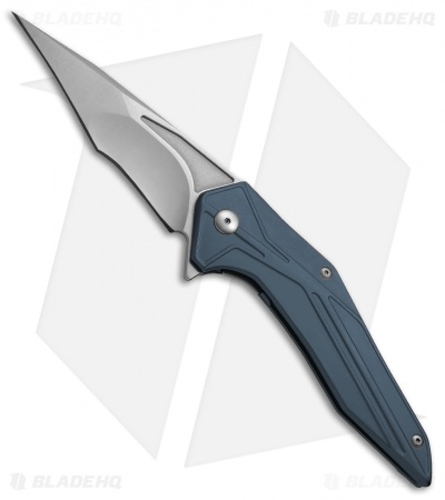 "Brous Blades Tyrant Liner Lock Flipper Knife Blue (4"" Stonewash)"