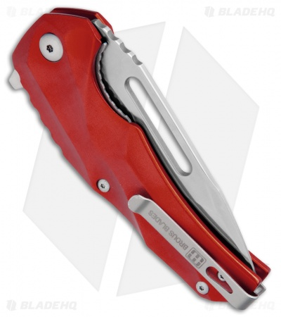 "Brous Blades & Mikkel Willumsen Reloader Flipper Knife Red Al (3.6"" Satin)"