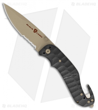 "Browning Black Label Duration Liner Lock Knife Black  G-10 (3.375"" Tan Serr)"