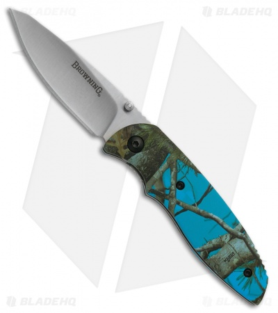 "Browning EDC Fossa Liner Lock Knife Blue Camo (2.625"" Satin) 3220252"