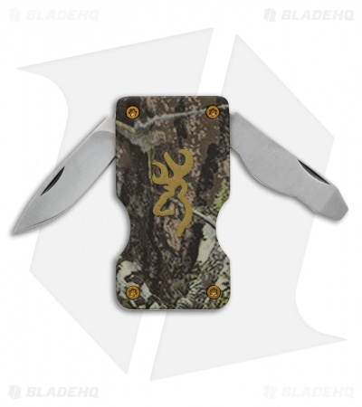 "Browning Money Clip Pocket Knife Camo (1.375"" Satin) 3220124"