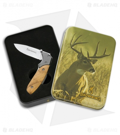 "Browning Prime Time Liner Lock Knife Brown Burl Wood w/ Tin (2.5"" Satin)"