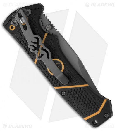 "Browning Small Haul Large Liner Lock Knife Black/Orange Polymer (3.375"" Gray)"