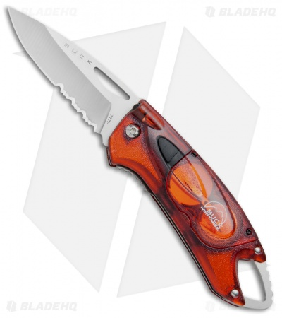 "Buck Lumina LED Liner Lock Knife Translucent Red (3"" Satin Serr)"