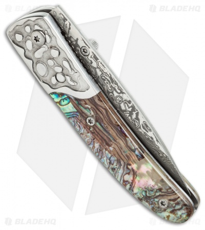 "Buck n Bear Abalone Linerlock Folding Knife (2.75"" Damascus) 140439"