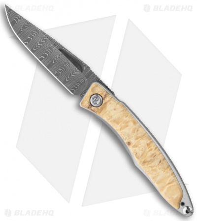 "Chris Reeve Mnandi Knife Box Elder Burl Inlay Folder (2.75"" Damascus)"