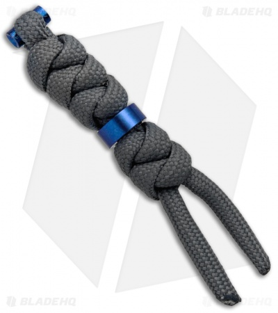 Chris Reeve Knives Small Charcoal Cord Tie Lanyard w/ Blue Bead