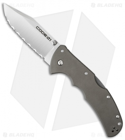 "Cold Steel Code-4 Clip Point Lockback Knife (3.5"" Satin Full Serr) 58TPCCS"