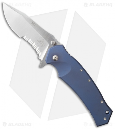 "Combative Edge M1-Manual Knife Blue Titanium (3.75"" Satin Serr) M1BAS Italy"
