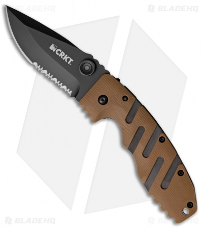 "CRKT Ryan Seven Liner Lock Knife Tan (3.5"" Black Serr) 6813DZ"