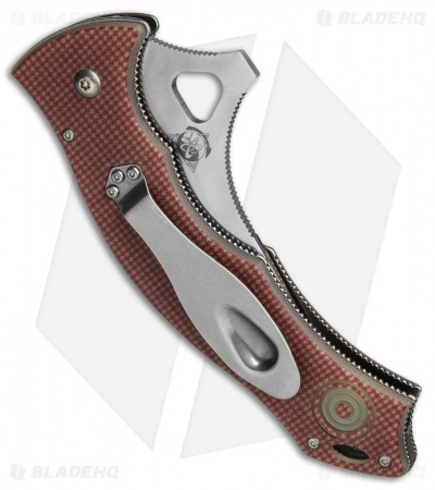 "CSSD/SC Bram Frank Magnum Bowie Folding Knife Red Checkered G-10 (3.75"" Satin)"