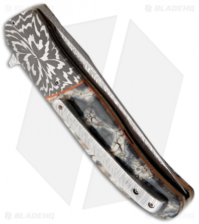 "George Muller LL-HH Flipper Folding Knife Blue Mammoth Molar (3.375"" Damascus)"