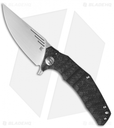 "Custom Knife Factory Morrf 3 Flipper Knife Carbon Fiber/Ti (3.5"" Satin)"