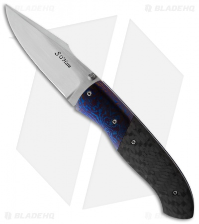"O'Hare Knives F2K Folder Timascus/Carbon Fiber Knife (3.5"" Satin)"