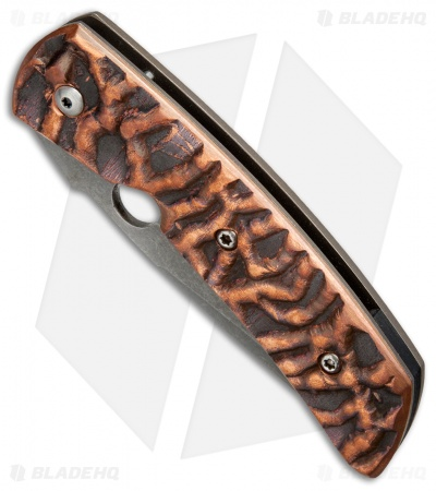"Deviant Blades Modified Curly Textured Bronze Folding Knife (3.7"" Bead Blast)"