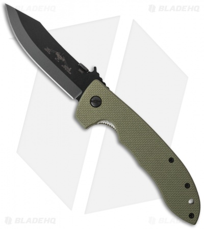 "Emerson CQC-8 BT Jungle Green Bowie Knife w/ Wave (3.875"" Black)"