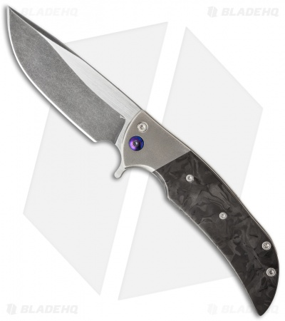 "Ferrum Forge Custom NGFR Flipper Knife Marbled CF (4"" Two-Tone)"
