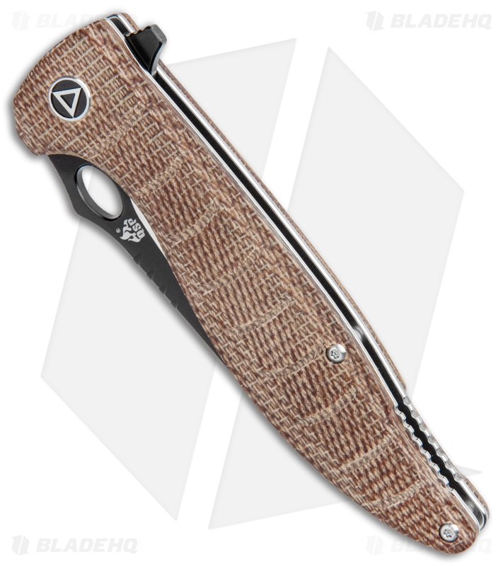 "QSP Locust Liner Lock Knife Natural Flax Micarta (3.875"" Two Tone)"
