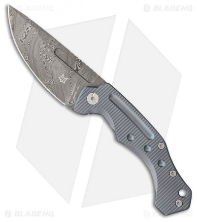 "Fox Desert Fox Folding Knife Blue Titanium (3.75"" Damasteel) FX-521 DLB"