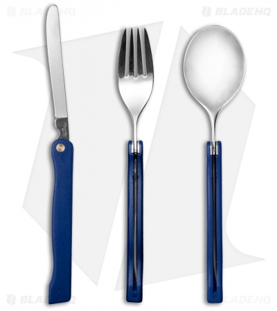 Fox Knives Folding Tableware Camping Set with Sheath (Blue)
