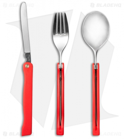 Fox Knives Folding Tableware Camping Set with Sheath (Red)