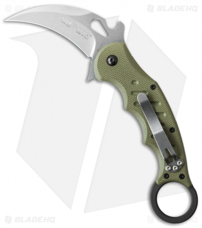 "Fox Knives Karambit Folder Knife OD Green G-10 (3.2"" Stonewash) 479ODSW"