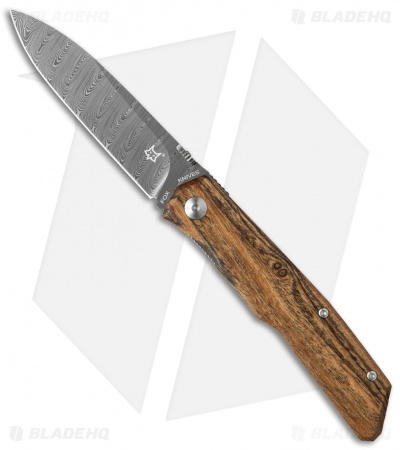 "Fox Knives Terzuola Folder Knife Bocote Wood (3.25"" Damascus) FX-525DB"