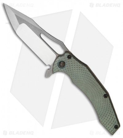 "Gavko Custom Spinner 2.0 Frame Lock Knife Green Stud Ti (3.5"" Satin/SW)"