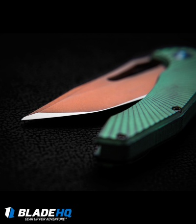 "Gavko Custom Spinner 2.0 Frame Lock Knife Green Titanium (3.5"" Copperwash)"