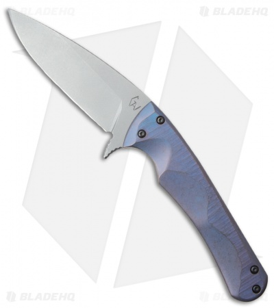 "Gavko Custom Small Flipper EDC Frame Lock Knife Blue Titanium (3.5"" Stonewash)"