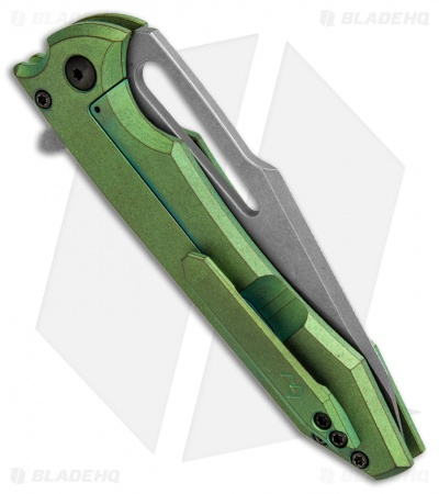 "Gavko Knives Mid-Tech Mako Knife Green Titanium (3.75"" Stonewash)"