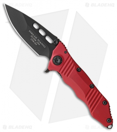 "Guardian Tactical Helix Nano Flipper Knife Red Aluminum (3.25"" Black)"