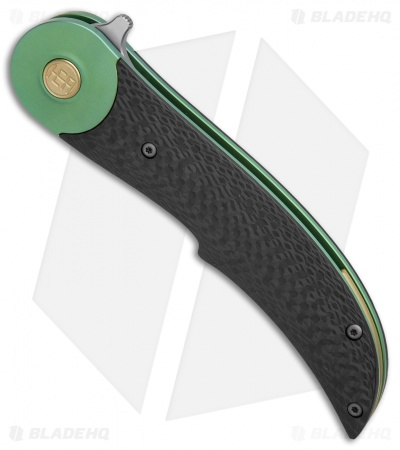 HEAdesigns Equilibrium V2 Bolster Lock Flipper Knife Carbon Fiber/Green Ti