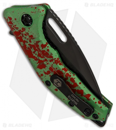"Heretic Knives Martyr Zombie Liner Lock Knife Green Splash (3"" Black)"