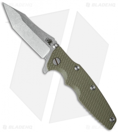 "Hinderer Knives Eklipse Flipper Knife OD Green G-10 (3.5"" Stonewash)"