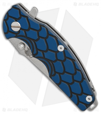 "Hinderer Knives Jurassic Frame Lock Knife Blue/Black G-10 (3.375"" Stonewashed)"
