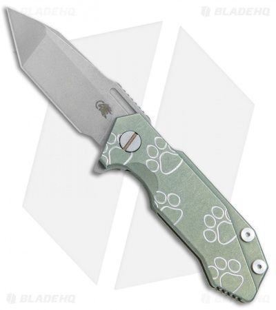 "Hinderer Knives Half Track Tanto Knife Paw Green Ano Ti (2.75"" Working)"