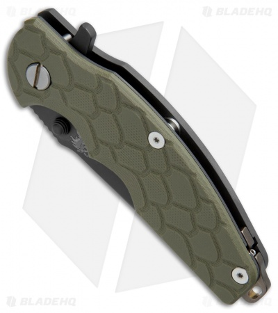 "Hinderer Knives Jurassic Frame Lock Knife OD Green G-10 (3.375"" Black DLC)"