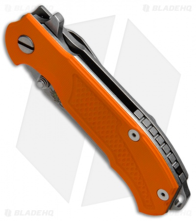 "Hinderer Knives MP-1 Frame Lock Flipper Knife Orange G-10 (3.375"" Stonewash)"