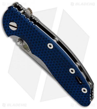 "Hinderer Knives XM-18 Spanto Flipper Knife Blue/Black G-10 (3.5"" Stonewash)"