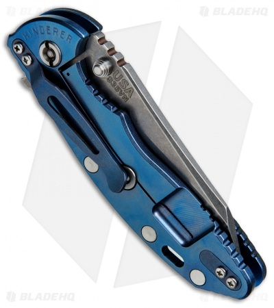 "Hinderer Knives Fatty Edition XM-18 Wharncliffe Knife Black/Blue Ano (3.5"" SW)"