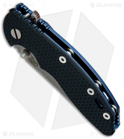 Hinderer Knives Fatty Edition XM-18 3.5 Wharncliffe Knife Black/Blue Ano (SW)