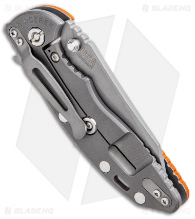 Hinderer Knives Fatty XM-18 3.5 Wharncliffe Knife Orange G-10 (Working Finish)