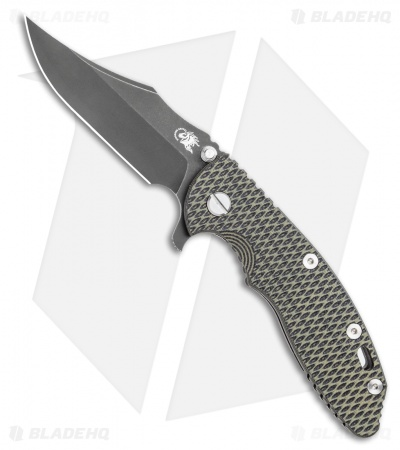 Hinderer Knives XM-18 3.5 Bowie Flipper Knife OD Green/Black (Battle Black)