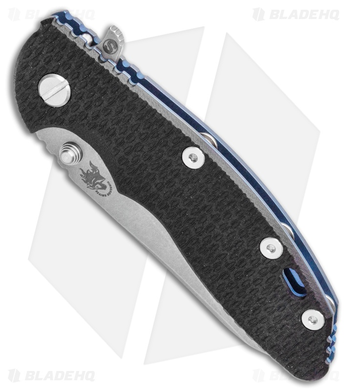 "Hinderer Knives XM-18 3.5"" Skinny Sheepsfoot Flipper Black G-10/Battle Blue"