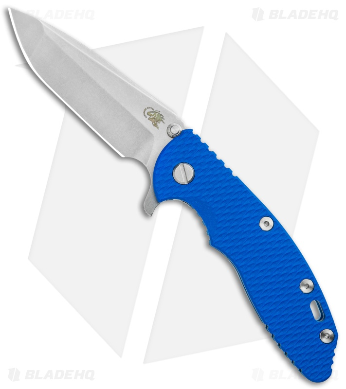 "Hinderer Knives XM-18 3.5"" Spanto Knife Blue G-10 Blue Ano (Stonewash S45VN)"