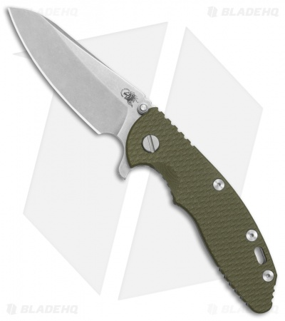 Hinderer Knives XM-18 3.5 Sheepsfoot Flipper Knife OD Green G-10 (Stonewash)
